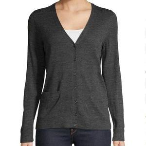 New LORD & TAYLOR Wool Gray Knit Cardigan Sweater